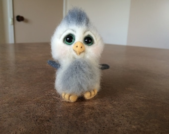 SOLD. Felt toy baby owl penguin, felt natural wool toy, tiny soft sculpture miniature own, needle felted owl  penguin