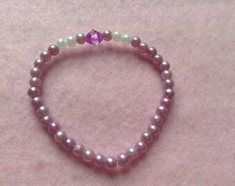 Pink, White & Purple Beaded Bracelet.