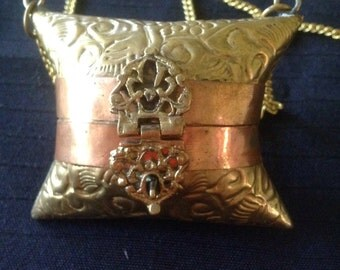 Vintage Pillow Purse Necklace Brass and Copper Steampunk