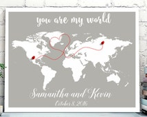 Wedding Guest Book Alternative, World Map Guest Book canvas or poster, Long distance relationship, Personalized World Travel Map wall art
