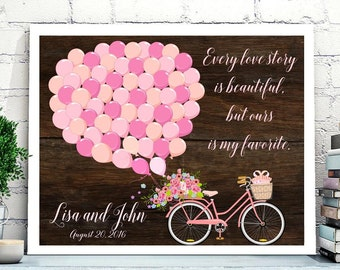 Wedding Guest book Alternative,Bicycle wedding guest book, Bike anniversary party guestbook poster, Rustic Wedding, Poster or CANVAS