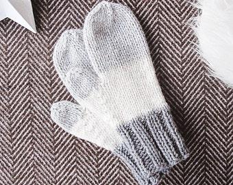 Hand knit mittens, warm winter mittens, womens mittens, alpaca wool mittens, white grey mittens
