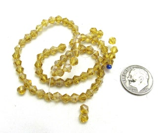 1 Strand Faceted Glass Bicone Beads 4mm Topaz (B96j7)