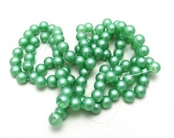 1 Strand Spray Painted Transparent 6mm Glass Beads Green (B44c)