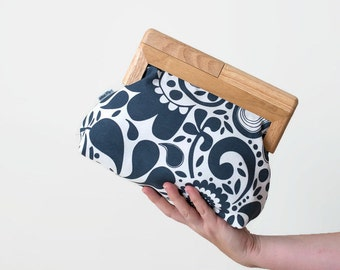 Fabric Clutch // Timber Frame, Photo Lining, Personalised Clutch, Bag, Purse, Treasured Memories, Family, Birthday