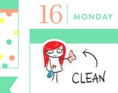 Cleaning planner stickers, chores stickers, planner stickers, vacuum, dishes, cleaning reminder, MINI size, 32 stickers, PPC151