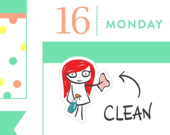 P002-Cleaning planner stickers, chores stickers, planner stickers, vacuum, dishes, cleaning reminder, MINI size, 32 stickers, PPC151