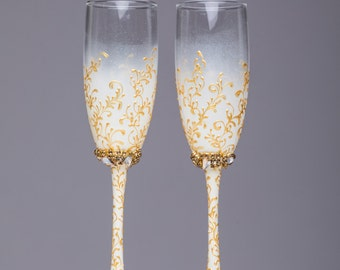 bride and groom flutes wedding personalized glasses gold and ivory wedding flutes wedding champagne glasses Toasting flutes wedding set of 2