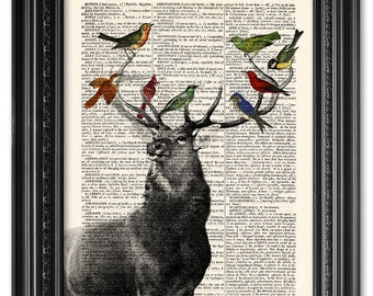 Deer with birds print, Dictionary art print, Vintage book art print, upcycled dictionary page, Home Wall Decor, Deer poster [ART 109]