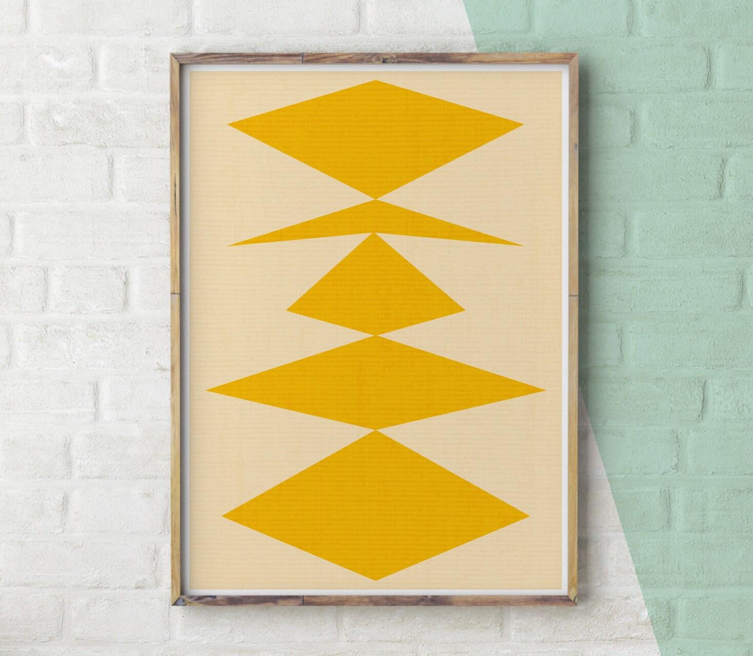 Geometric Print Yellow Decor Geometric Wall Art Modern