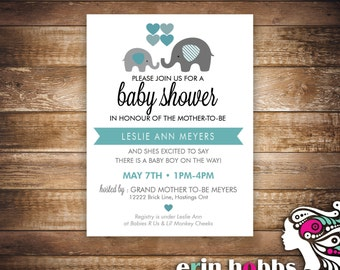 Elephant Baby Shower Invite