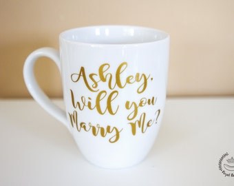 "12 oz Personalized ""Will You Marry Me?"" Coffee Mug, Gold Vinyl"