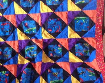 SALE-Lizard baby/toddler quilt