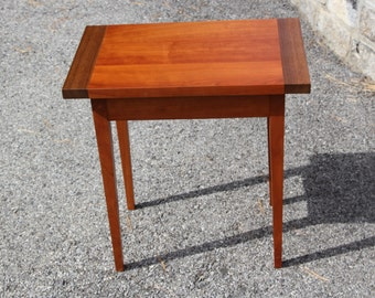 Shaker end table made from quartersawn natural cherry and black walnut