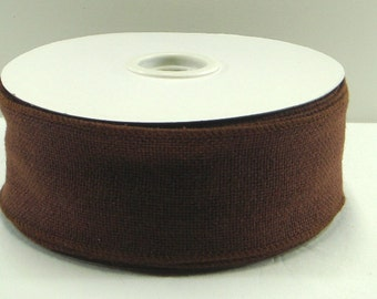 2.5 inchWired Burlap Ribbon ~ Chocolate Brown Loosely Wired Burlap Ribbon ~ 3 Yards