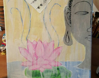 Buddha With Prayer Flag 8x10 original Acrylic Canvas