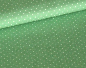 Mint cotton jersey with white dots
