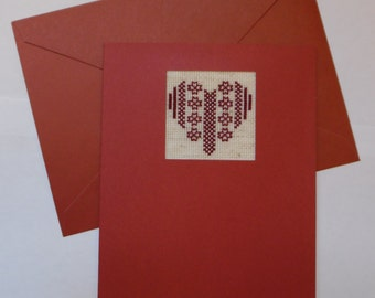 christmas greeting card, hand stitched, embroidered