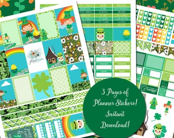 Irish Cuties - St. Patrick's Day - XL Printable Sticker Kit - 175 Stickers for MAMBI Happy Planner - 3 Pages - Instant Download