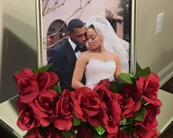 Red Rose & Gold 8 x 10 Photo Frame