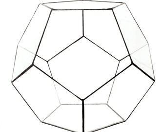 "Geometric Glass Terrarium ""Dodecahedron"" height=22cm"