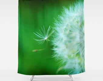 green dandelion shower curtain dandelion puff bathroom art home decor nature designer shower decor