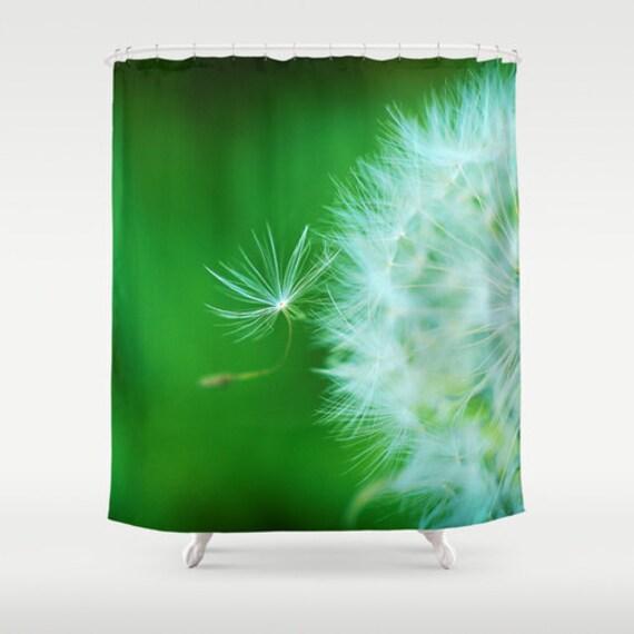 green dandelion shower curtain dandelion puff bathroom art