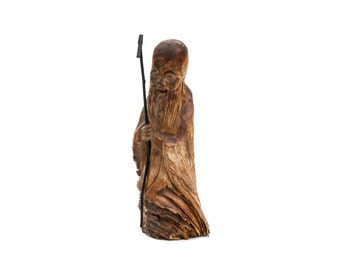 Hand Carved Chinese Shou Lao Wood Statue