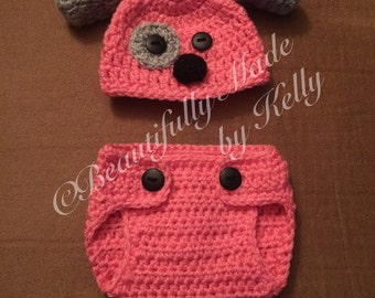 Crochet Puppy Baby Beanie and Diaper Cover Set- Newborn