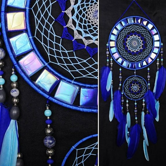 Dreamcatcher Blue mosaic Dream Catcher Large Dreamcatcher New Dream сatcher gift idea dreamcatcher boho dreamcatcher wall handmade gift blue