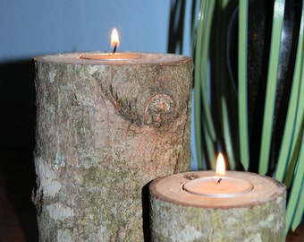 Very rustic log tealight  candle holders set of 2