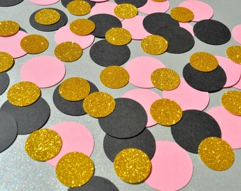 Birthday Party Decor Confetti Wedding Confetti Circle Table Confetti Party Decorations Black, Pink and Gold Confetti Mix Party Table Decor