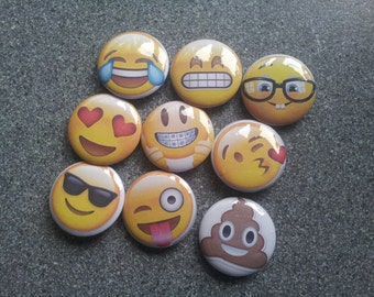 25mm/1 inch button pin badges - emoji range, collectable, quirky badge, unusual, party favours, collectable badges