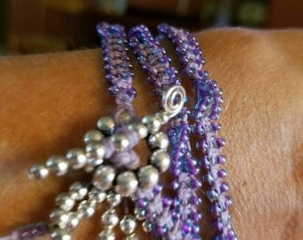 Purple Seed Bead Wrapped Braclet or Necklace