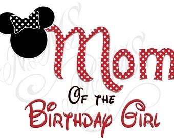 Minnie Mickey Mouse Mom Birthday Girl Shirt DIY Iron On Digital Art Little Sister Matching Red Black Dot Birthday Pregnancy Announcement