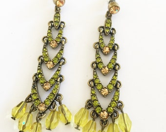 Dark Olive Green Chandelier Drop Earrings