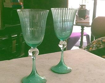 Pair of Green Murano Glasses