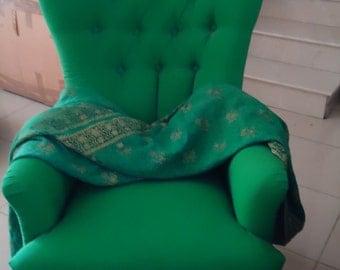 19th Century Nursing Chair Upholstered in Green Silk