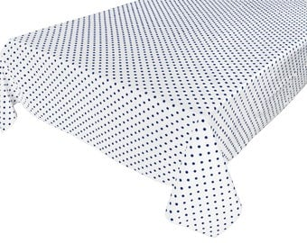 Cotton Table Cloth Polka Dots / Spots Small Dots Navy on White