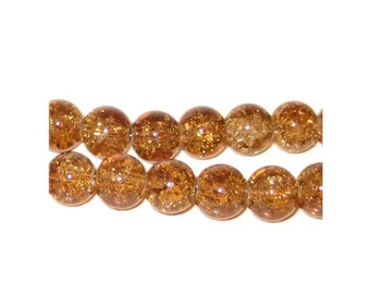 Bead, Apricot color, Round Bead, Glass Bead,  D1400