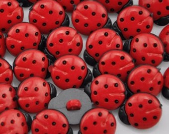 Ladybird Buttons, Red Ladybird, Ladybug Buttons, Childrens Buttons, Novelty Buttons, Red Buttons, Bug Buttons,