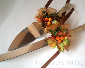 Fall Wedding Set, Wedding Cake Server and Knife, Cake Server Set, Wedding Set, Autumn Server Set, Hand Painted, Hand Decorated, Set of 2