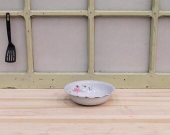 Tin glazed Bowl with rose Vintage