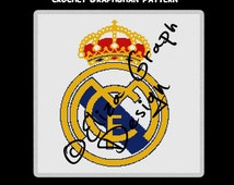 Real Madrid Football Club logo CROSS STITCH Pattern, CROCHET Graphghan Blanket Pattern