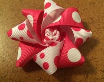 Pink and White Polk a Dot Barrette