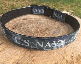U.S. Navy Dog Collar - Sailor Dog Collar - Nautical Dog Collar - Military Dog Collar - Navy Dog Leash - Navy Dog Harness - Digi Camo Collar