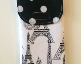 Black and White Eiffel Tower Dual Eyeglass/Cell Phone Case