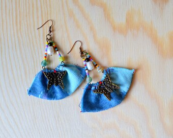 Bohemian fabric earrings, fabric earrings jewellery