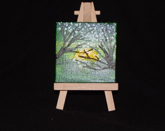 3x3 canvas paining of trees