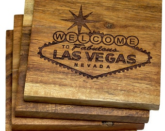 Welcome to Fabulous Las Vegas, Nevada Coasters - Set of 4 Engraved Coasters